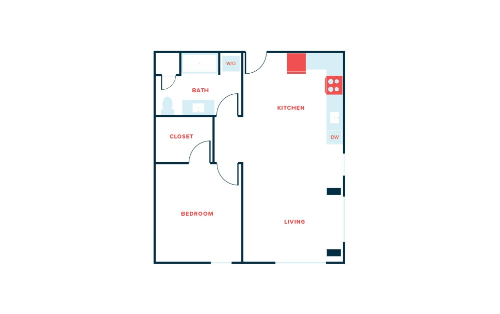 1 Bed K - 1 bedroom floorplan layout with 1 bath and 789 square feet.