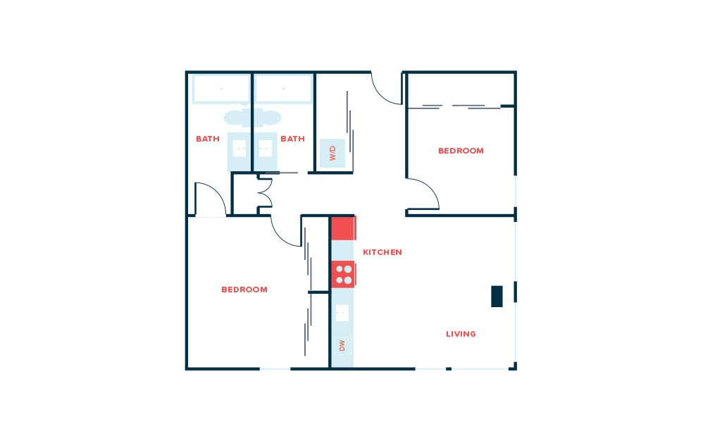 2 Bed D - 2 bedroom floorplan layout with 2 baths and 918 square feet.