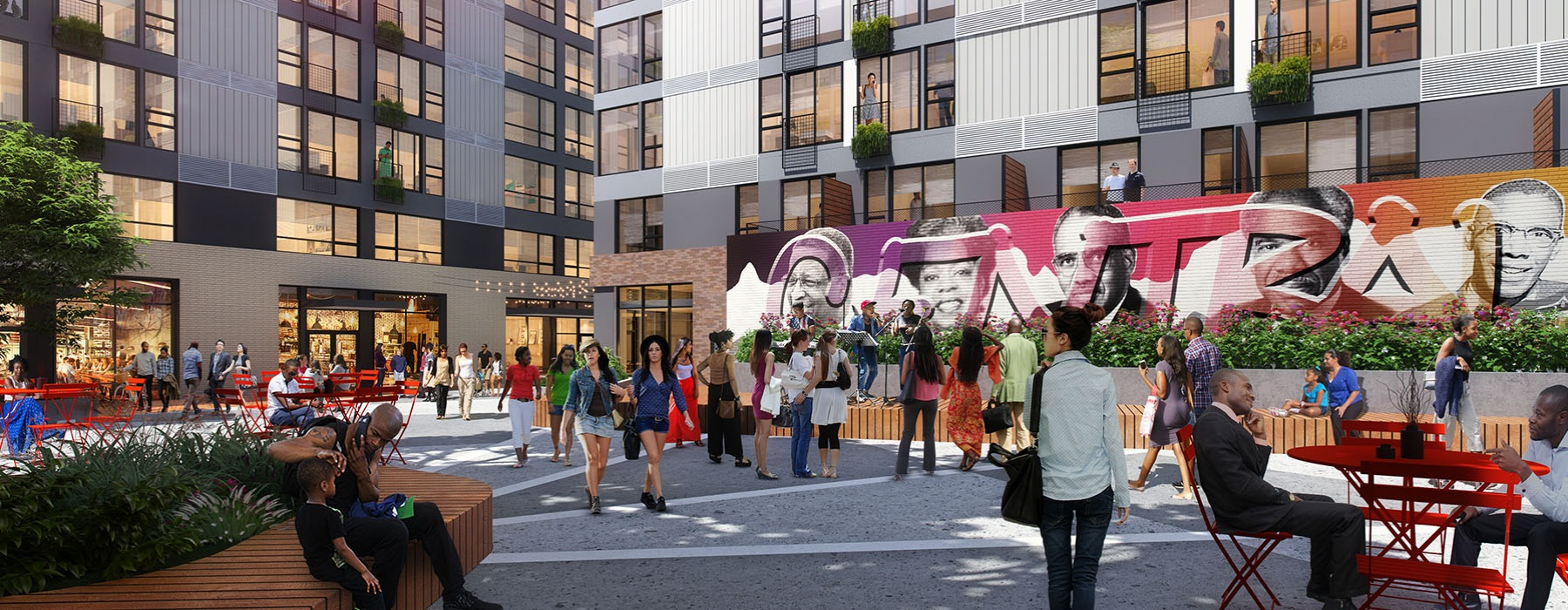 people walking along and sitting in outdoor area of Midtown Square building with art mural