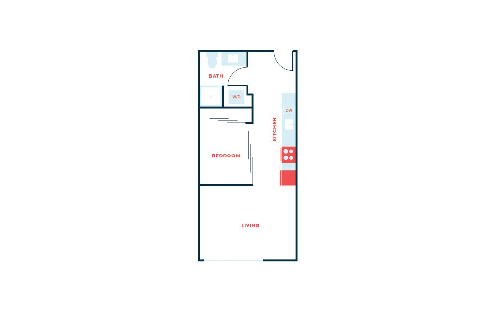 Open 1 Bed B.5 - 1 bedroom floorplan layout with 1 bath and 518 square feet.