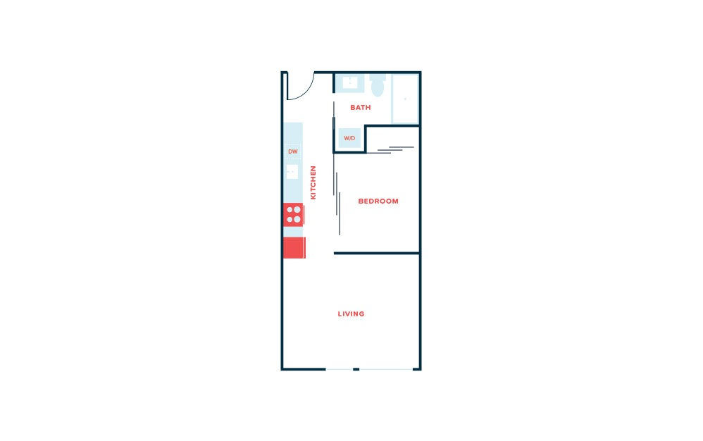 Open 1 Bed B - 1 bedroom floorplan layout with 1 bath and 536 to 543 square feet.