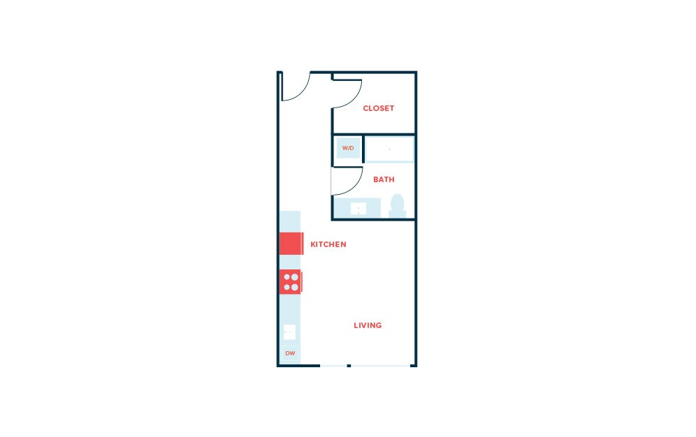 Studio A - Studio floorplan layout with 1 bath and 468 to 484 square feet.