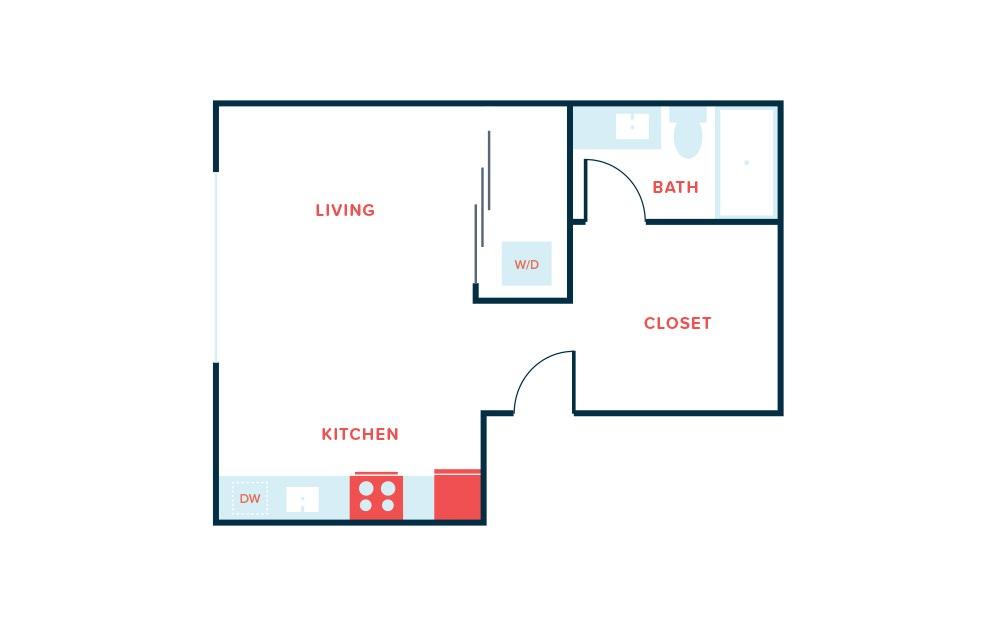 Studio B - Studio floorplan layout with 1 bath and 536 square feet.