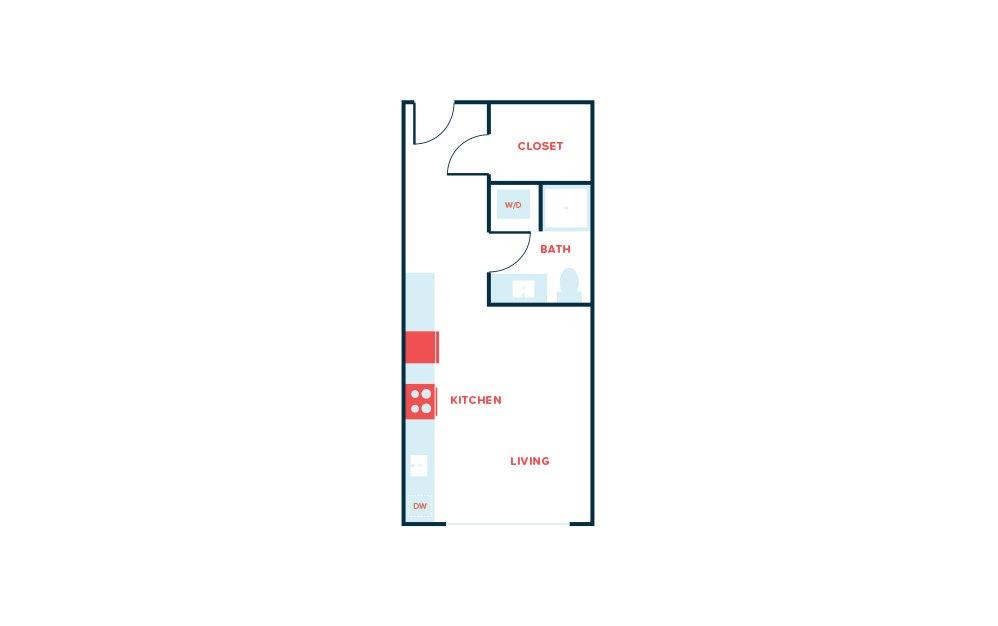 Studio E - Studio floorplan layout with 1 bath and 447 square feet.