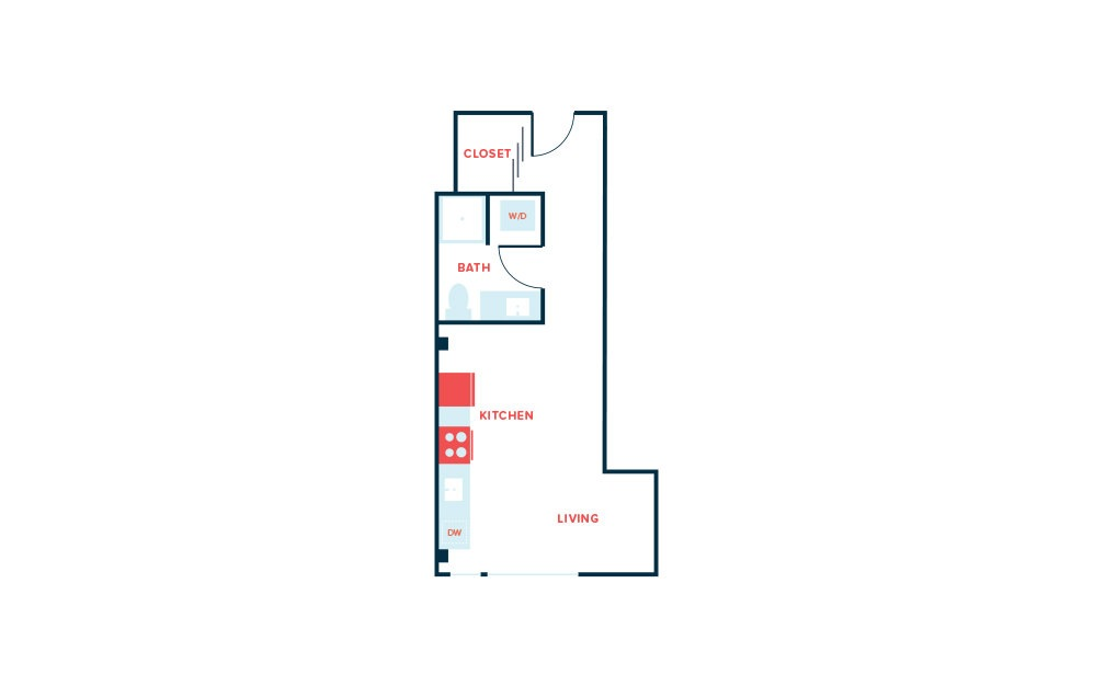 Studio F - Studio floorplan layout with 1 bath and 436 square feet.