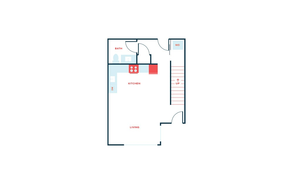 Townhouse - 2 bedroom floorplan layout with 2.5 baths and 1160 square feet. (Floor 1)